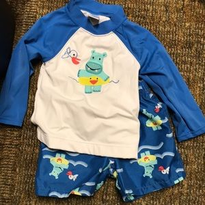 Gymboree 12-18 months swim trunks and rash guard
